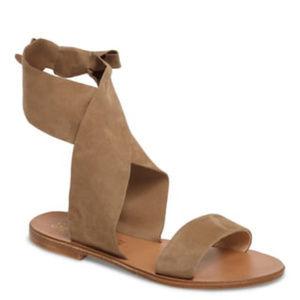 SEYCHELLES Suede Ankle Wrap Flat Sandals